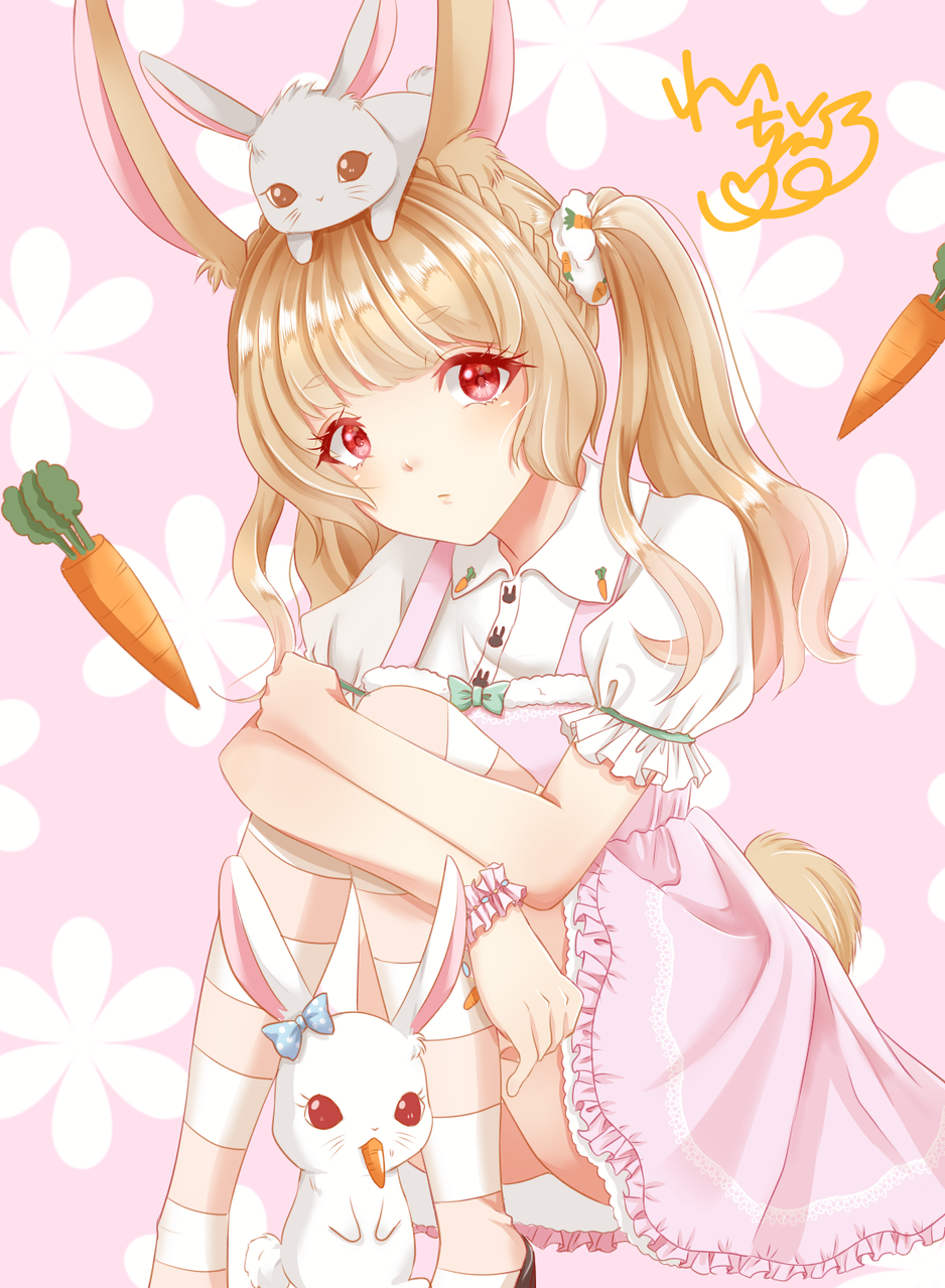 ウサちゃん Illust of れいちぇる September2020_Contest:Furry rabbit ファーリー Personification rabbits pink 擬人化イラスト girl うさ耳 illustration