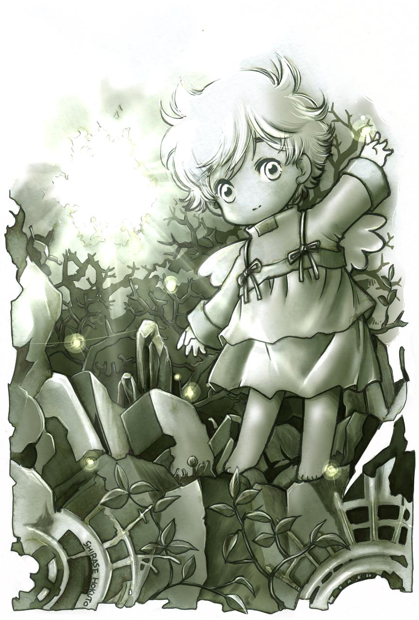 お出かけちぃ Illust of ちぃぶっく medibangpaint 木漏れ日 angel white_hair 光 緑色 kawaii