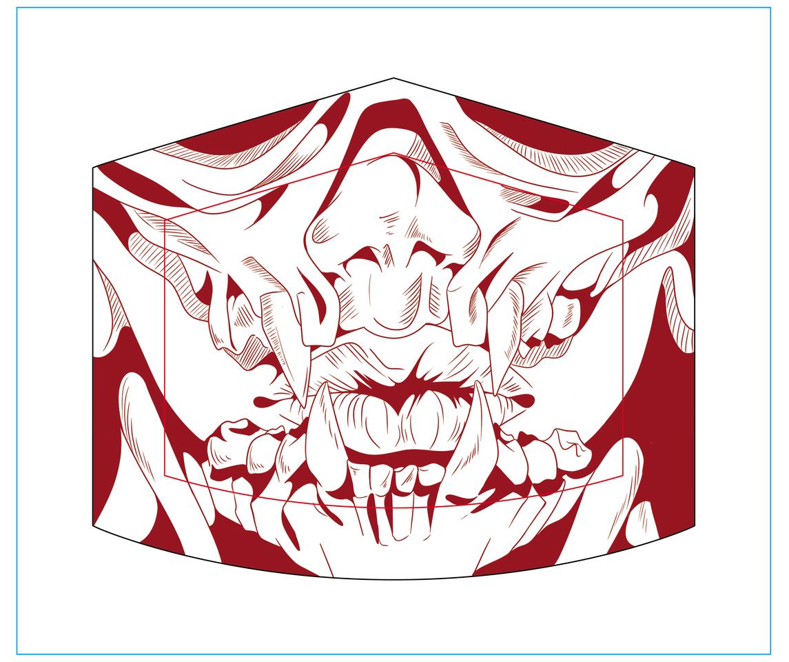 TRIBAL 2.0 Illust of DANNARTWORK MaskDesignContest red drawing mouth mask tribal illustration mascarilla ilustration skull