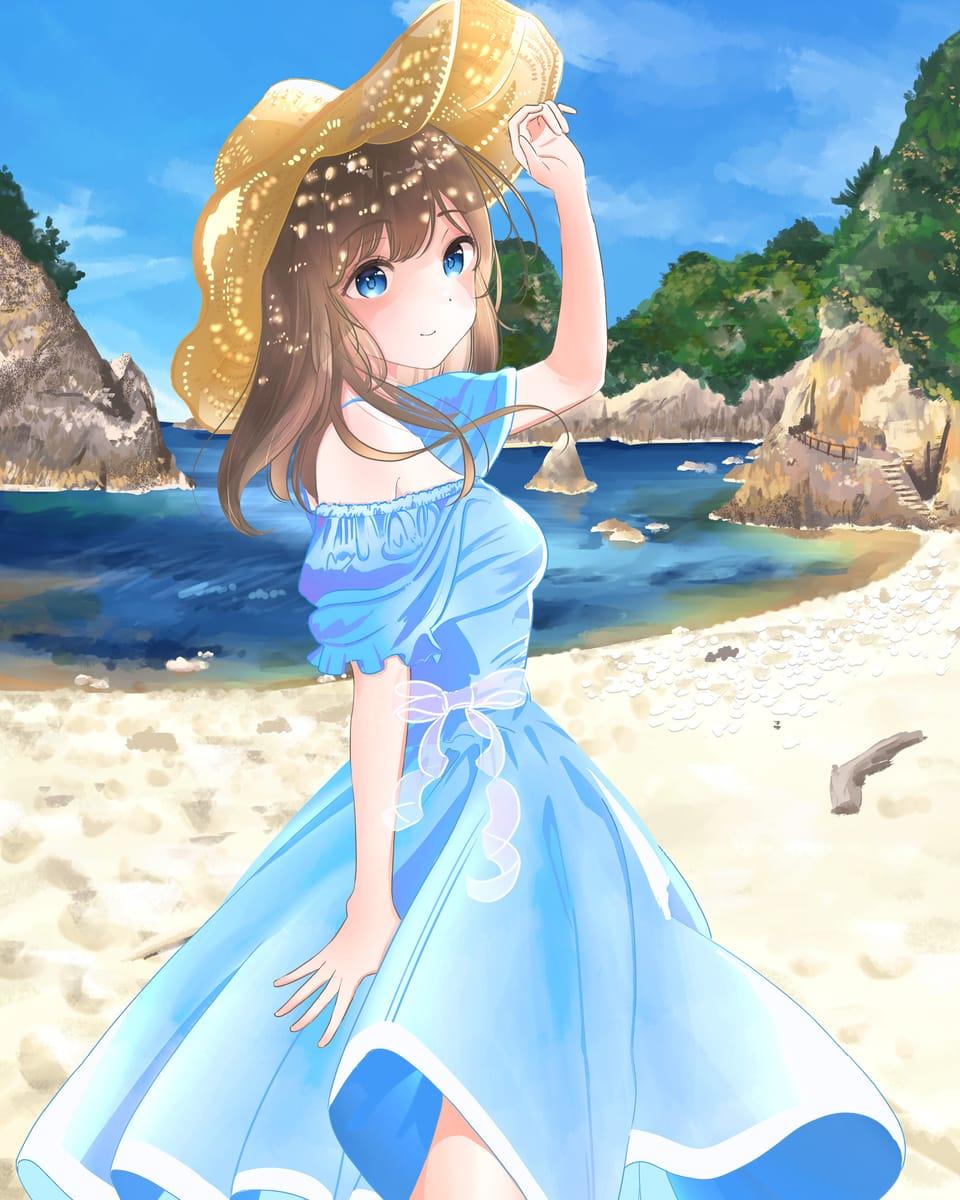 ビバ夏! Illust of ゆかもり medibangpaint girl sea original Strawhat