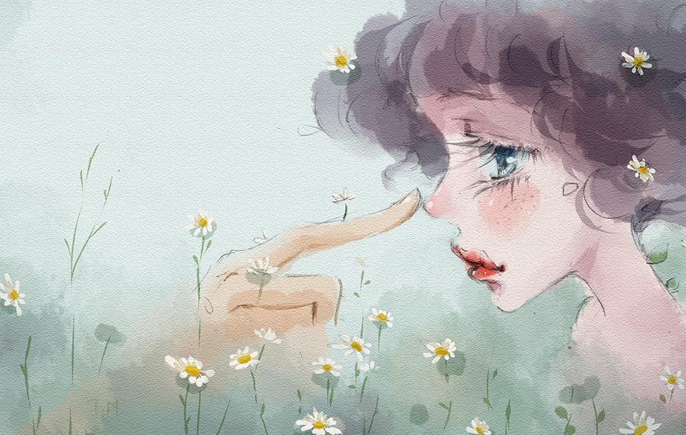 Dear Amellus Illust of Thao Nguyen - Violet April2021_Flower September2021_Girl July2020_Contest:Anniversary sad art girl flower oc cute illustration digital