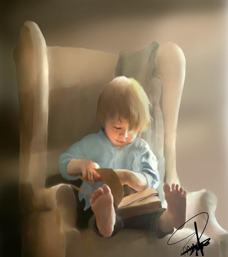 Boy in Wonder (made on Medibang Paint) Illust of CJustMe medibangpaint book iPad_raffle reading realistic portrait boy blond beautiful light