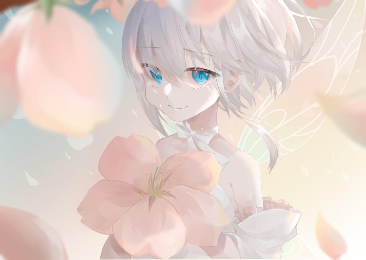 散りゆく春思ふ Illust of てう April2021_Flower おんなのこ oc
