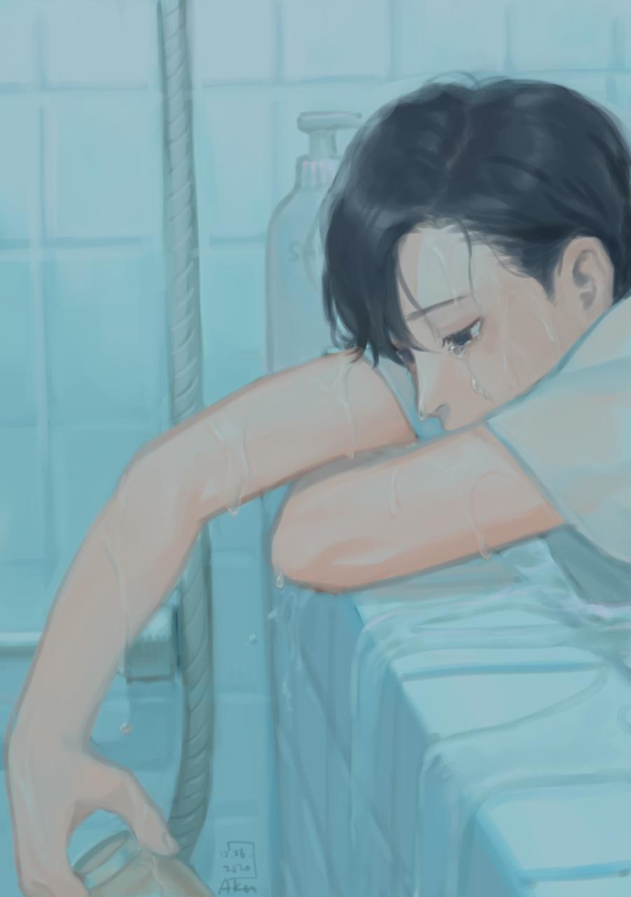 Blue (1) Illust of Akn summer painting oc illustration blue originalart original