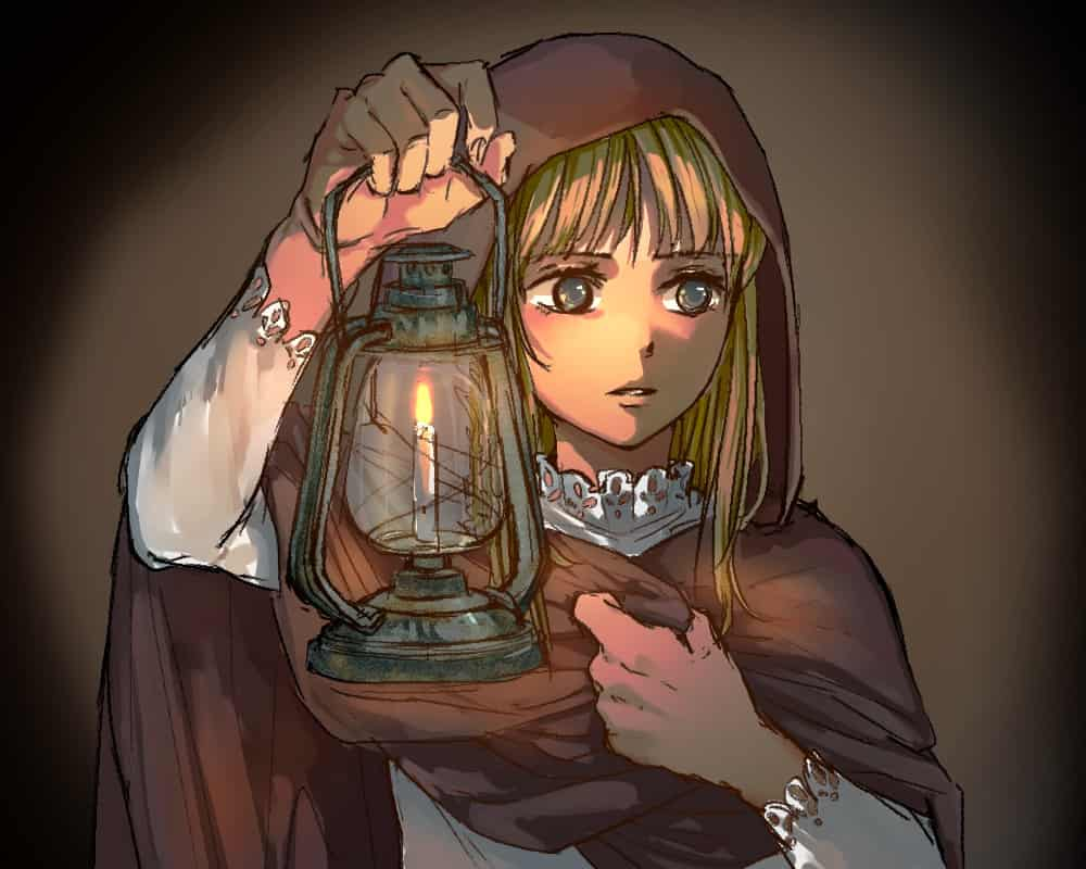 物音をたどって Illust of 山吹 アンティーク girl ランプ night