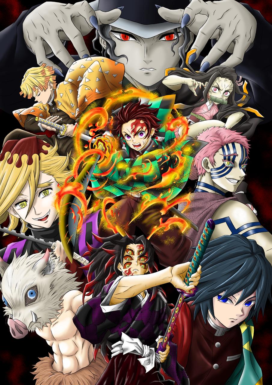 Kimetsu No Yaiba Characters Illust of A.R.Soza DemonSlayerFanartContest KamadoNezuko KimetsunoYaiba HashibiraInosuke TomiokaGiyuu AgatsumaZenitsu KibutsujiMuzan KamadoTanjirou