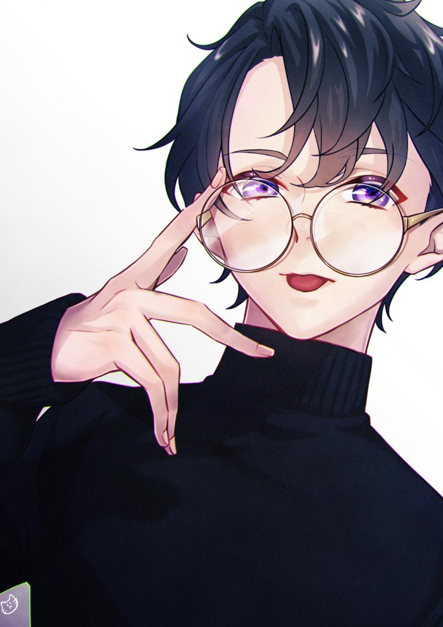 丸ぶち眼鏡 Illust of そうすけ female 黒髪 ニット メガネ男子 original glasses handsome boy