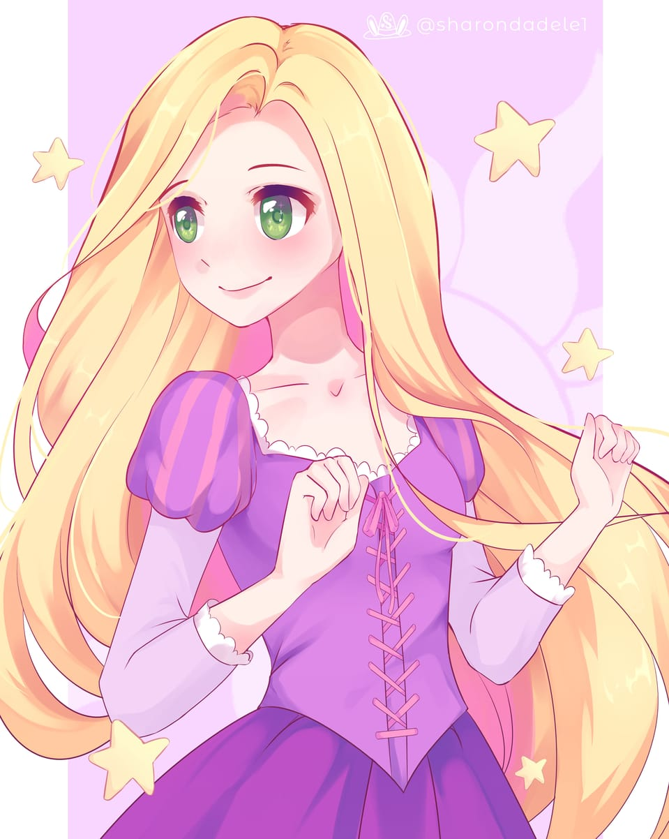 Rapunzel Fanart Illust of SharonDa12 princess drawing Rapunzeld disneyprincess Disney anime Tangled animegirl