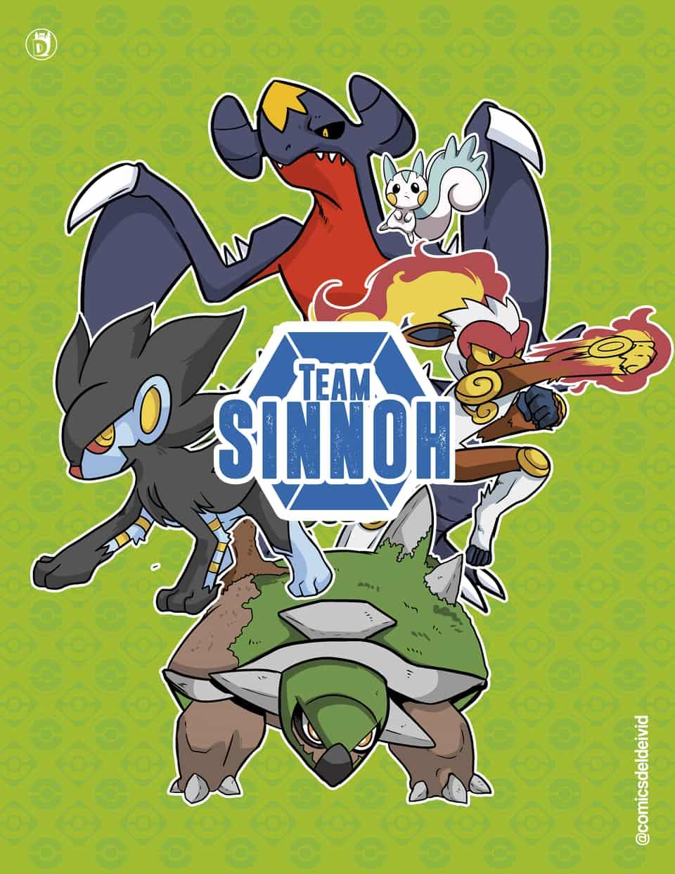 Team Sinnoh Poster Illust of DCastlee diamond torterra pokemon Platinum luxray infernape poster Garchomp pachirisu sinnoh