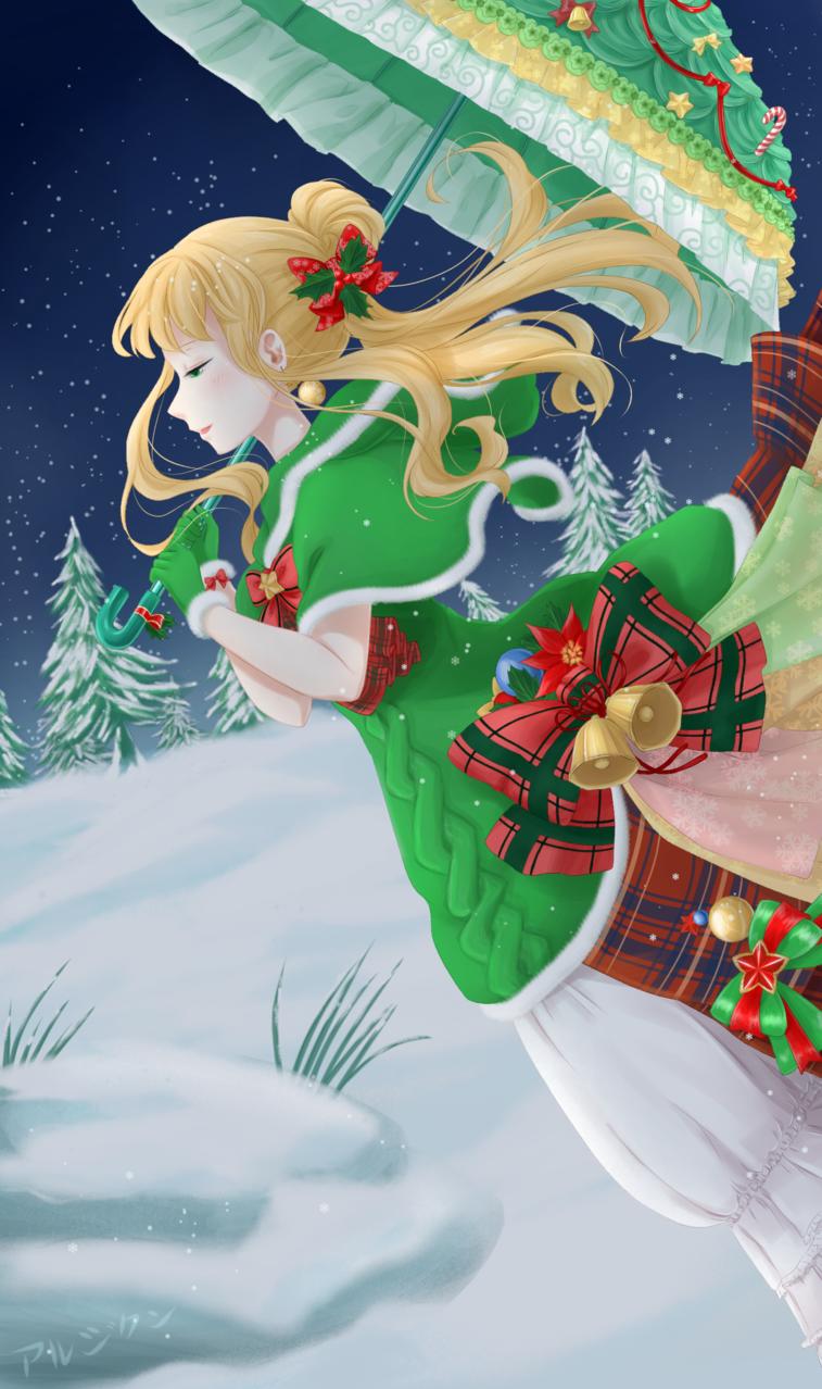 Christmas Lady down the Snowy Hill Illust of aruji-kun dec.2019Contest winter snow animeart Christmas Anime-girl