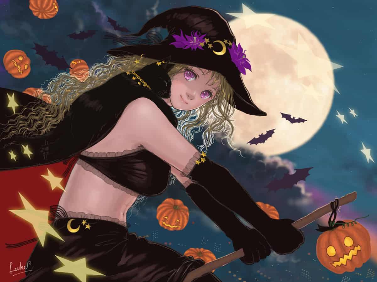 +ハロウィン'20+ Illust of Luke uehara moon witch ハロウィン2020 夜空 girl カボチャ