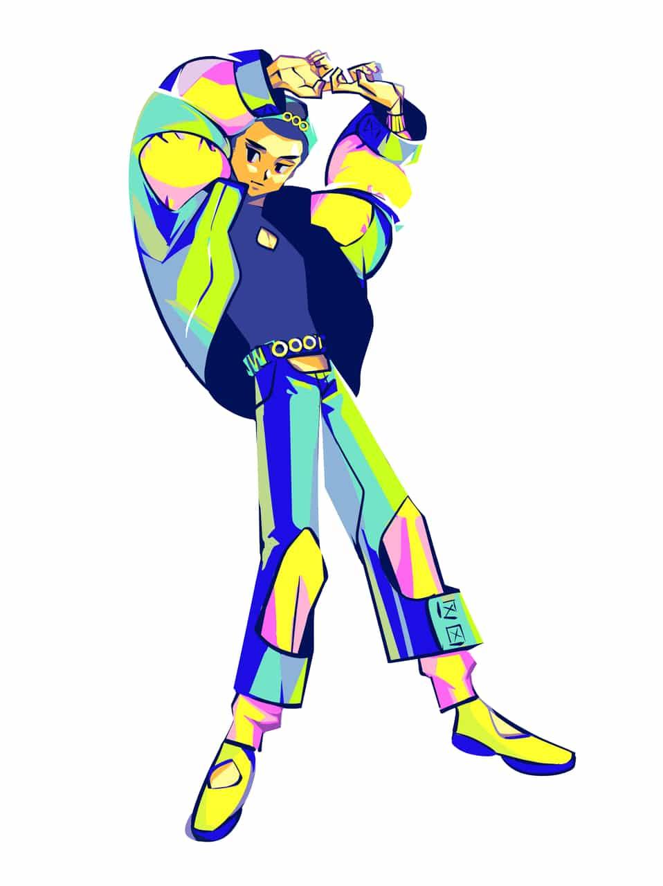 スペクトラム Illust of 吉村 sci-fi April.2020Contest:Color illustration 男の子イラスト 立ち絵 坊主 ホログラム boy カラフル キャップ cyberpunk