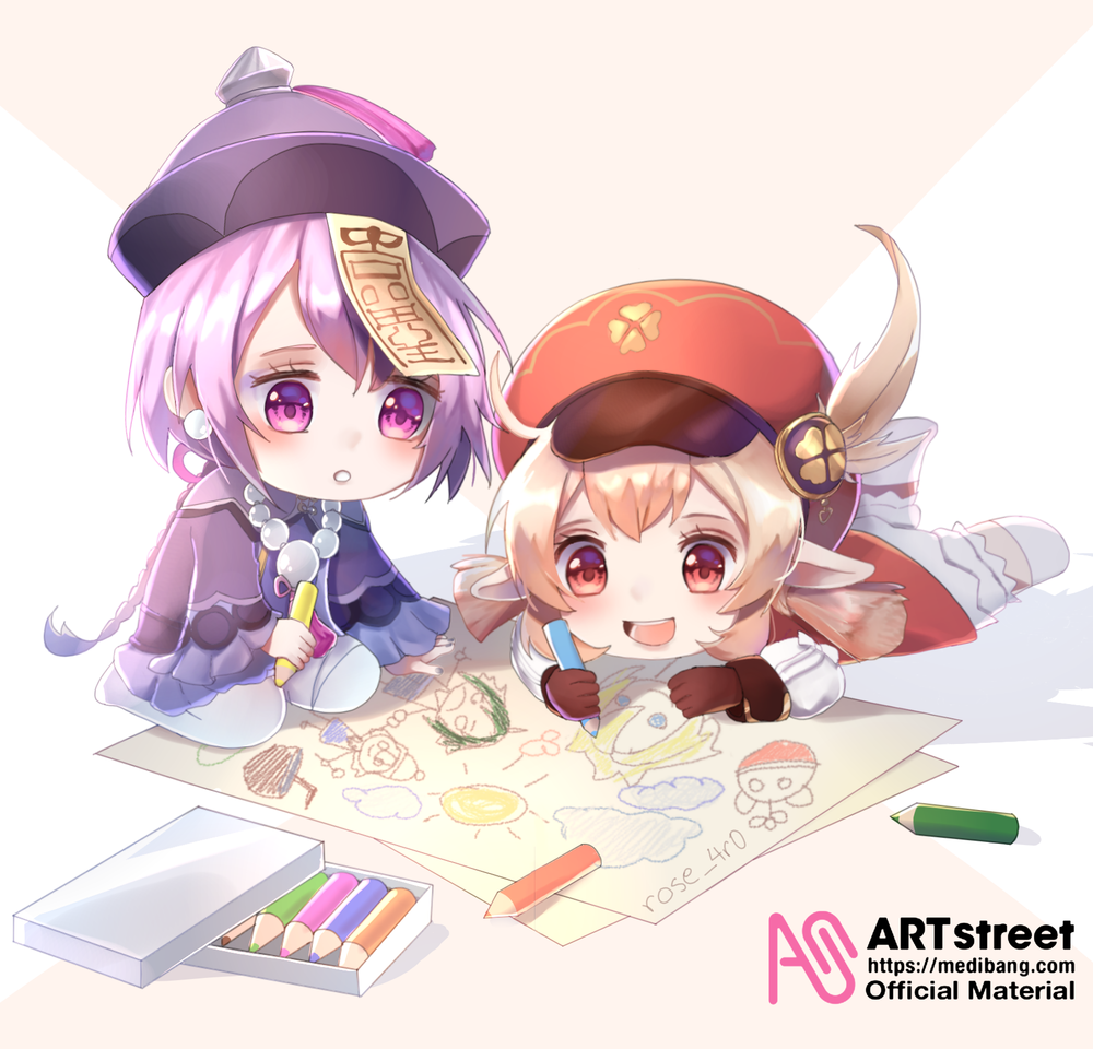 Qiqi & klee Illust of rose_4r0 tracedrawing4th GenshinImpact fanart qiqi game klee