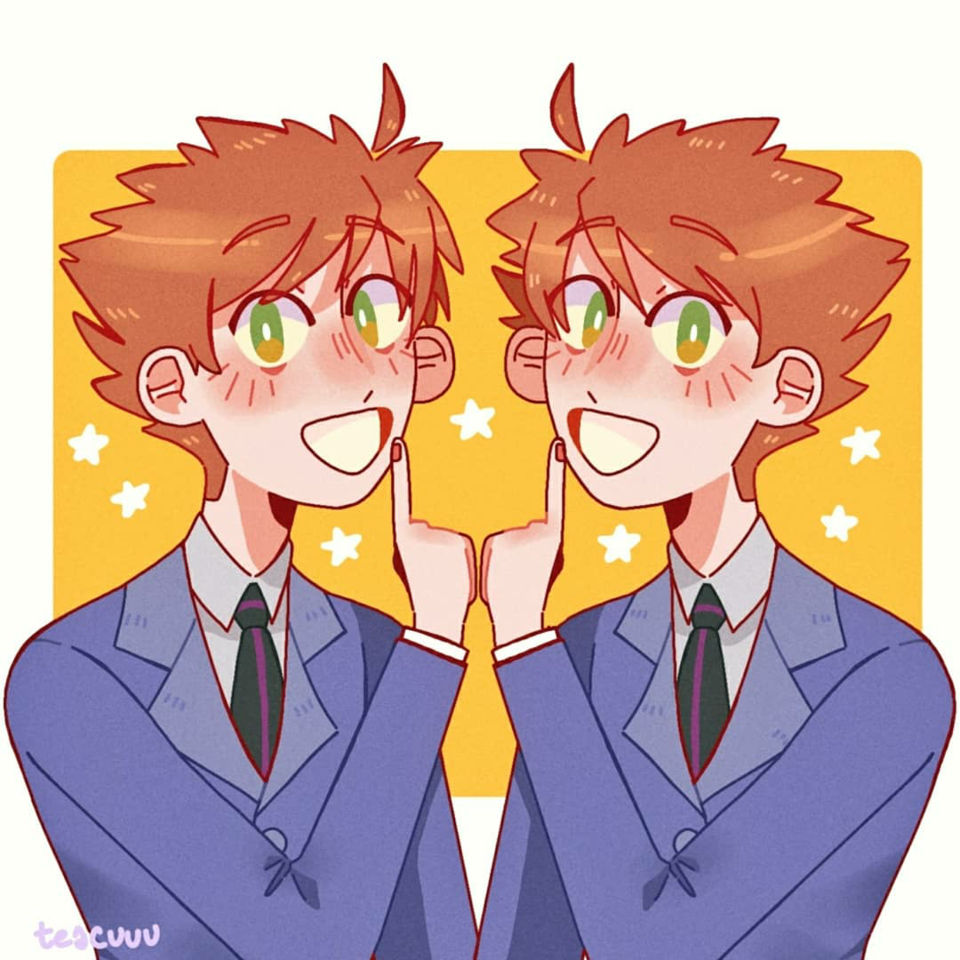 hitachiin twins Illust of pisspun medibangpaint original art Twins boy cute anime OHSHC color