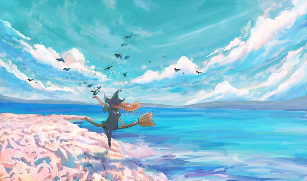 Witch at Sea Illust of sealgege original witch beach clouds oc birds sea ocean