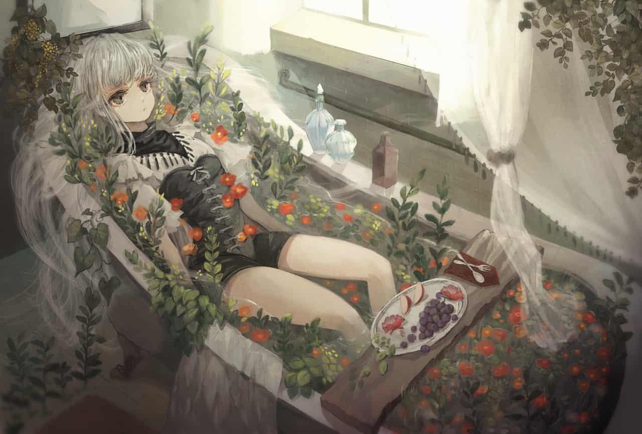 花風呂 Illust of あり 風呂 girl 窓辺 oc 創作イラスト