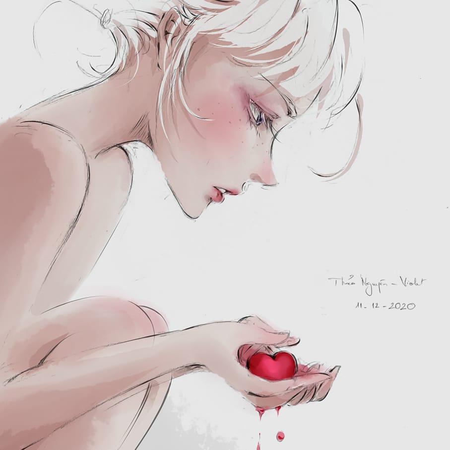 The Deadline of Love Illust of Thao Nguyen - Violet January2021_Contest:OC art change girl hurt oc digital illustration Heartbreak blood heart