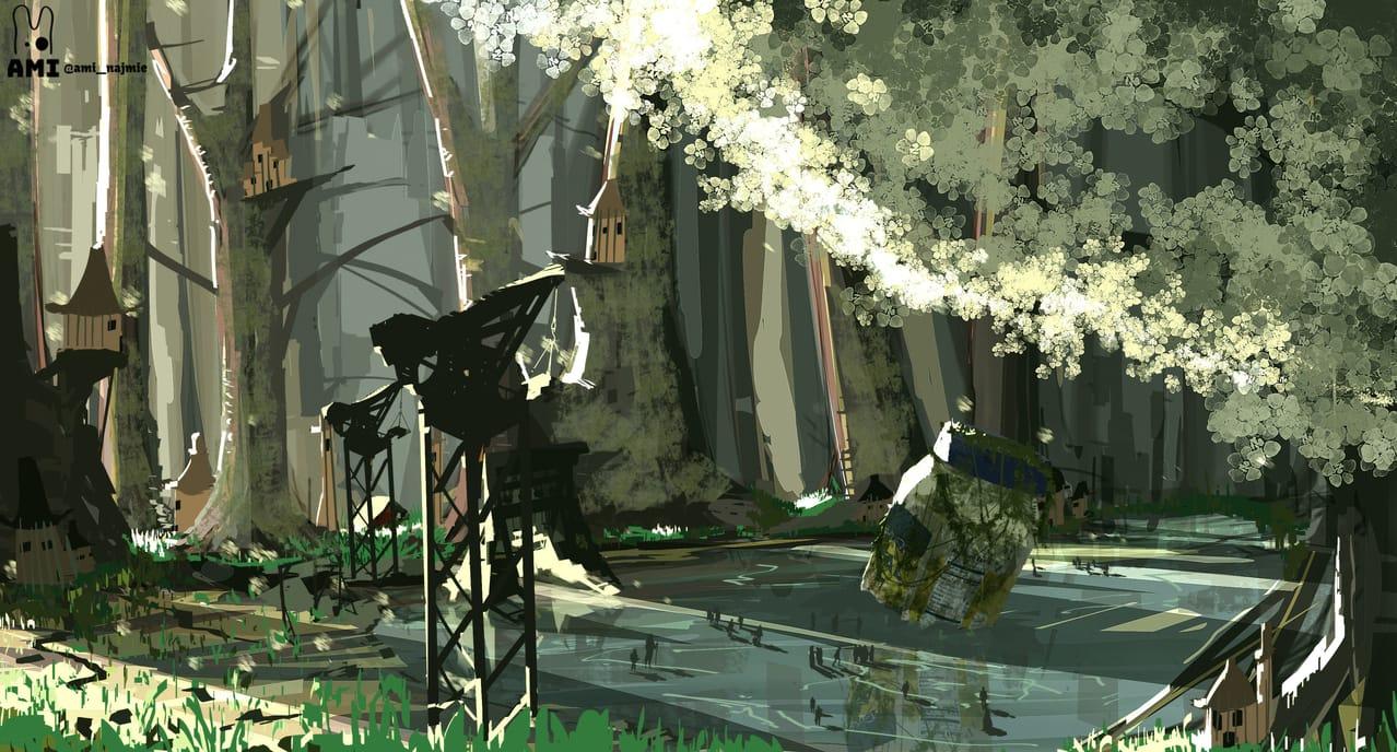 Little Village & Mayonnaise Illust of ami_najmie February2021_Fantasy concept visualart painting Artwork digital art illustration Conceptart digitalpainting anime
