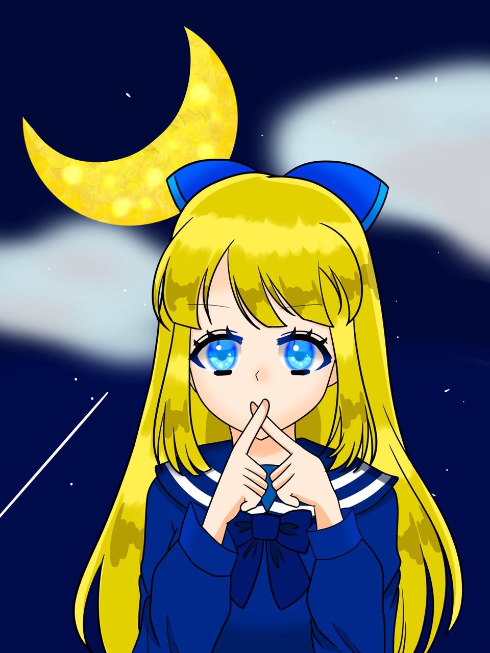 夜はお静かに Illust of さーや 小5 夜空 girl blonde moon