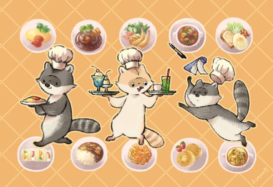 洋食屋さん Illust of ヒポポンゴ オムライス animal food original Raccoon
