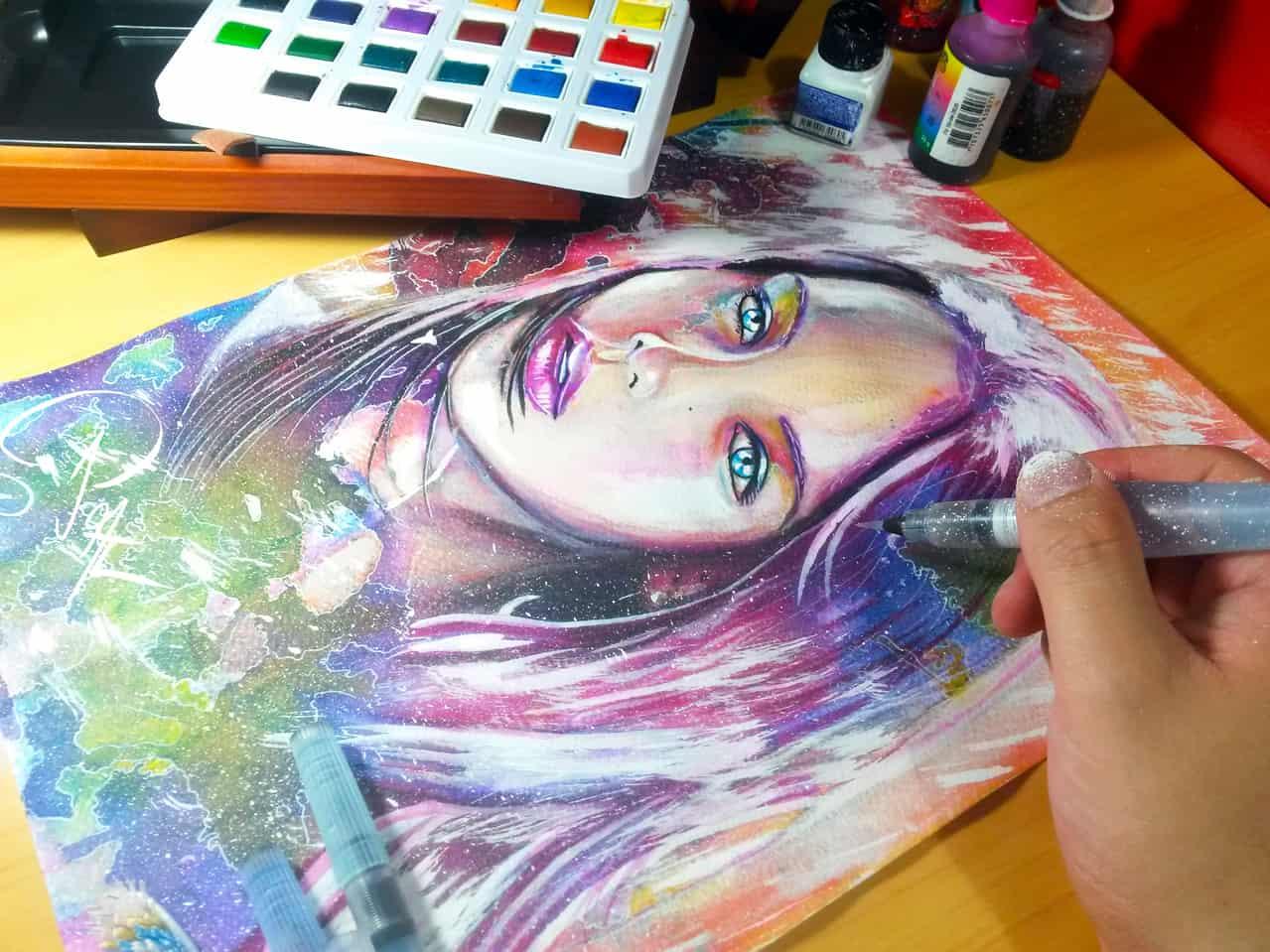 Violeta Illust of Jonathan Prada Castaño ARTstreet_Ranking April.2020Contest:Color watercolor painting face art drawing girl beautiful woman