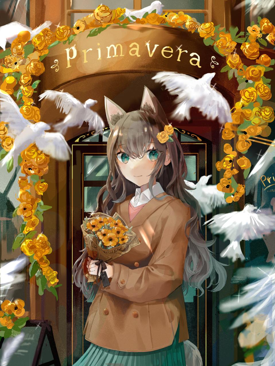 🕊 Illust of ねおん* cat_ears birds flower illustration