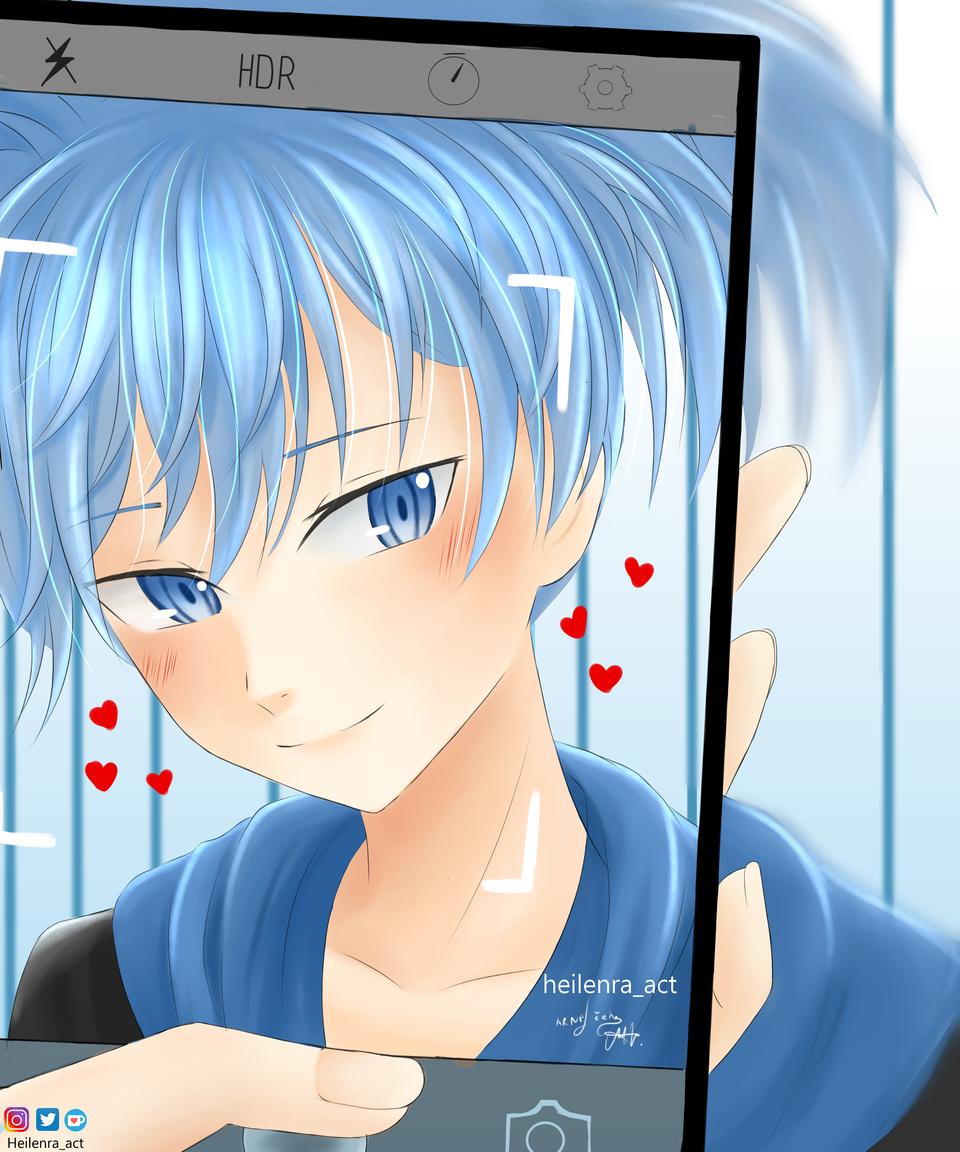 For Yudoufu-san💚 Illust of Heilenra_act AssassinationClassroom blue nagisashiota Bluehair blueeyes medibangpaint animeart animeboy