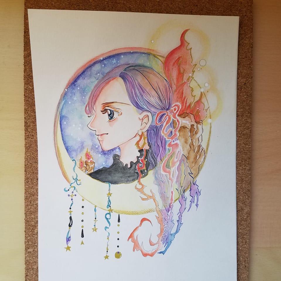 あの娘の横顔 Illust of おかかうめ moon girl sideface ファンタジー風 original アナログ 水彩色鉛筆 kawaii
