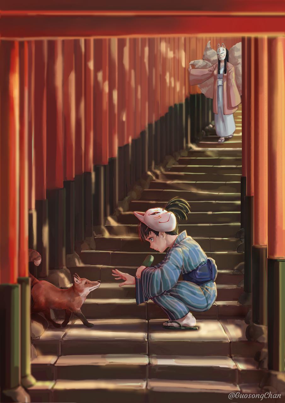 夏の出会い Illust of gsongchan kyoto-illust2019 Jul.2019Contest 千本鳥居 summer fox
