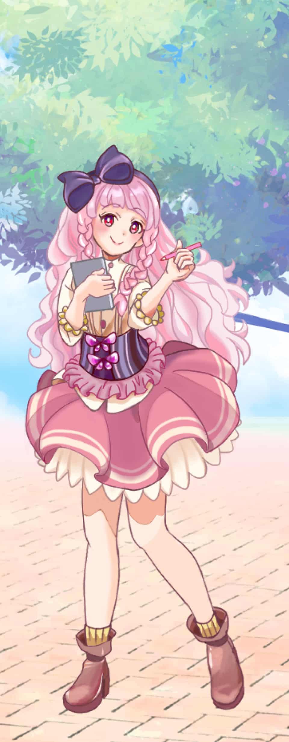 杏・シャーロット・ラペーシュ(16) Illust of 鬼餅 PASTEL_SKETCH2020 pink girl ribbon original フリル peach