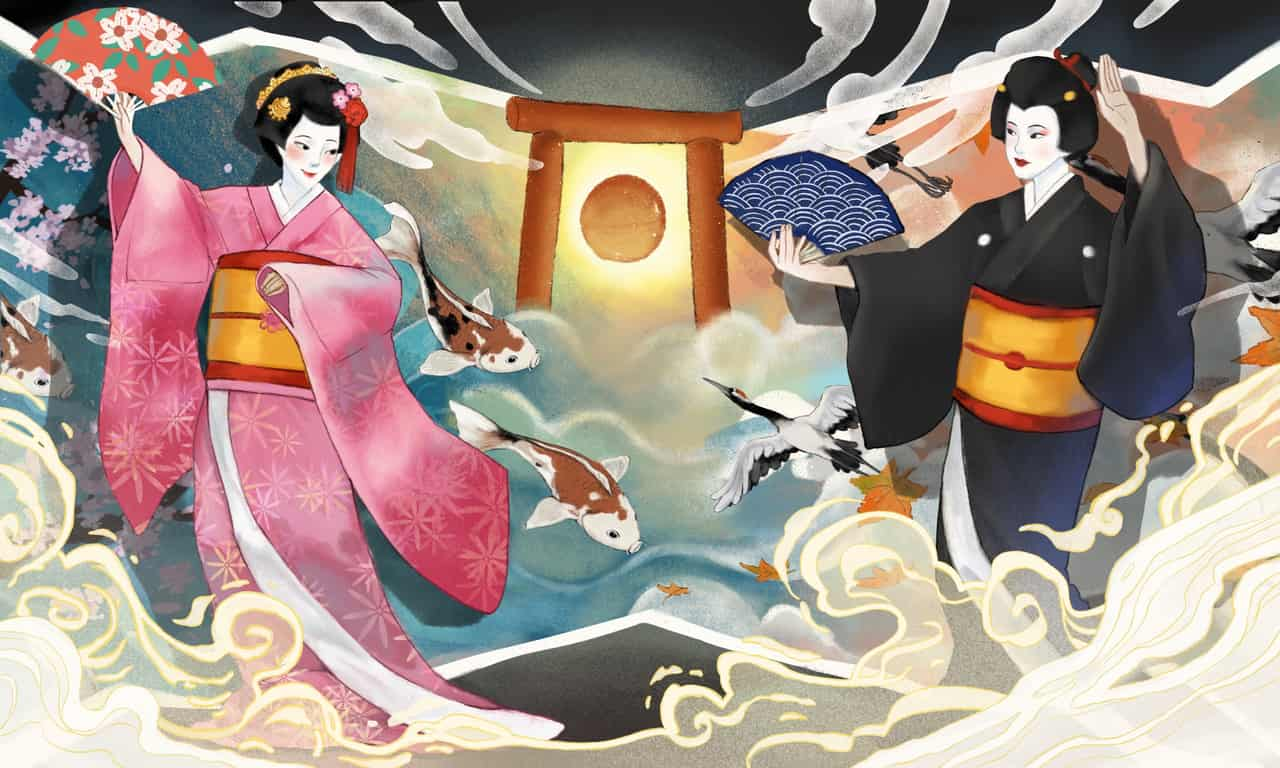 The Geiko and Maiko of Kyoto Illust of adechint Kyoto_Award2020_illustration artist kimono kyoto dance Japanese illustration maiko Geisha traditional