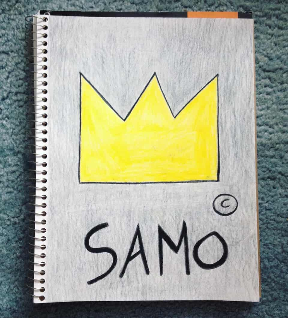 SAMO Illust of Rue Lee art coloredpencil JeanMichel_Basquait 90s crown drawing samo streetart graphicart