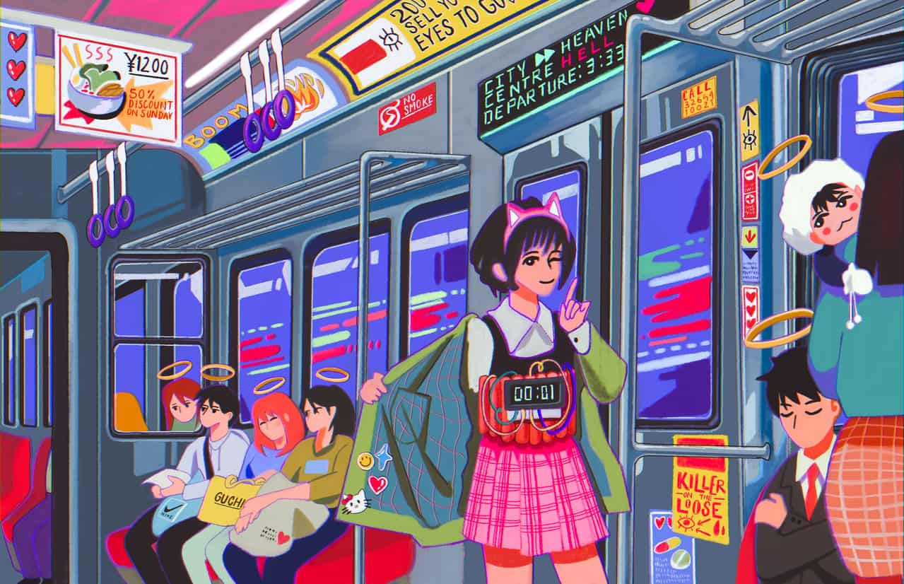 Nightmare Illust of Wasabi Chan horror August2020_Contest:Horror digital illustration psychopath creepy art trains schoolgirl