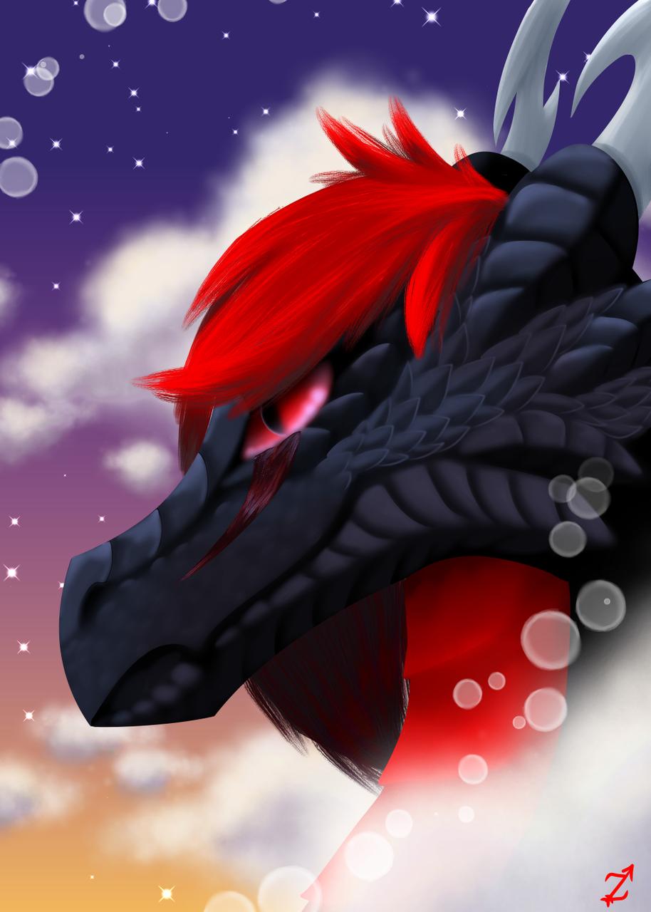 Zyvra- Realistic Portrait Illust of Zyvra Dragonfyre medibangpaint iPad_raffle sky fursona furry oc dragon cloud realistic portrait