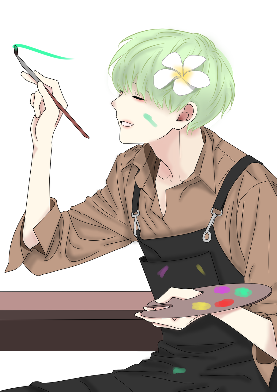 Destiny 운명 Illust of YUN-C April2021_Flower January2021_Contest:OC flower oc yun-c 붓 green 녹색머리