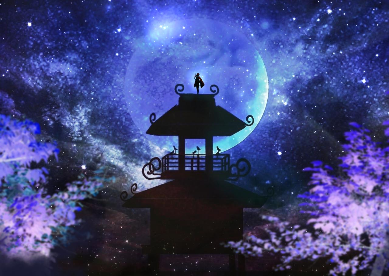 唐古・鍵遺跡 Illust of ぽぽうどん scenery sky 風景画 夜空 Conceptart