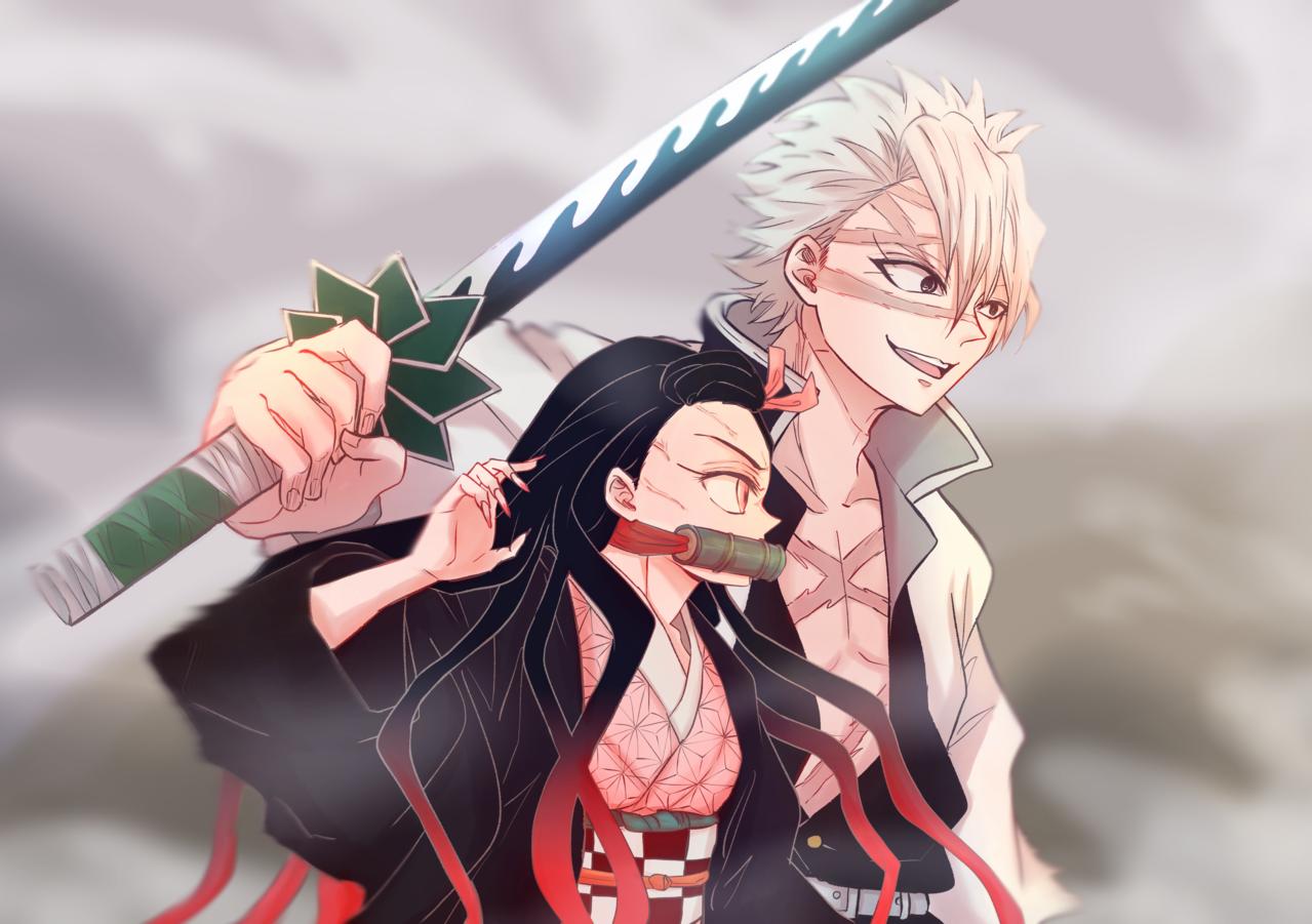 禰豆子と実弥 Illust of 3 KamadoNezuko 戦闘 ShinazugawaSanemi KimetsunoYaiba