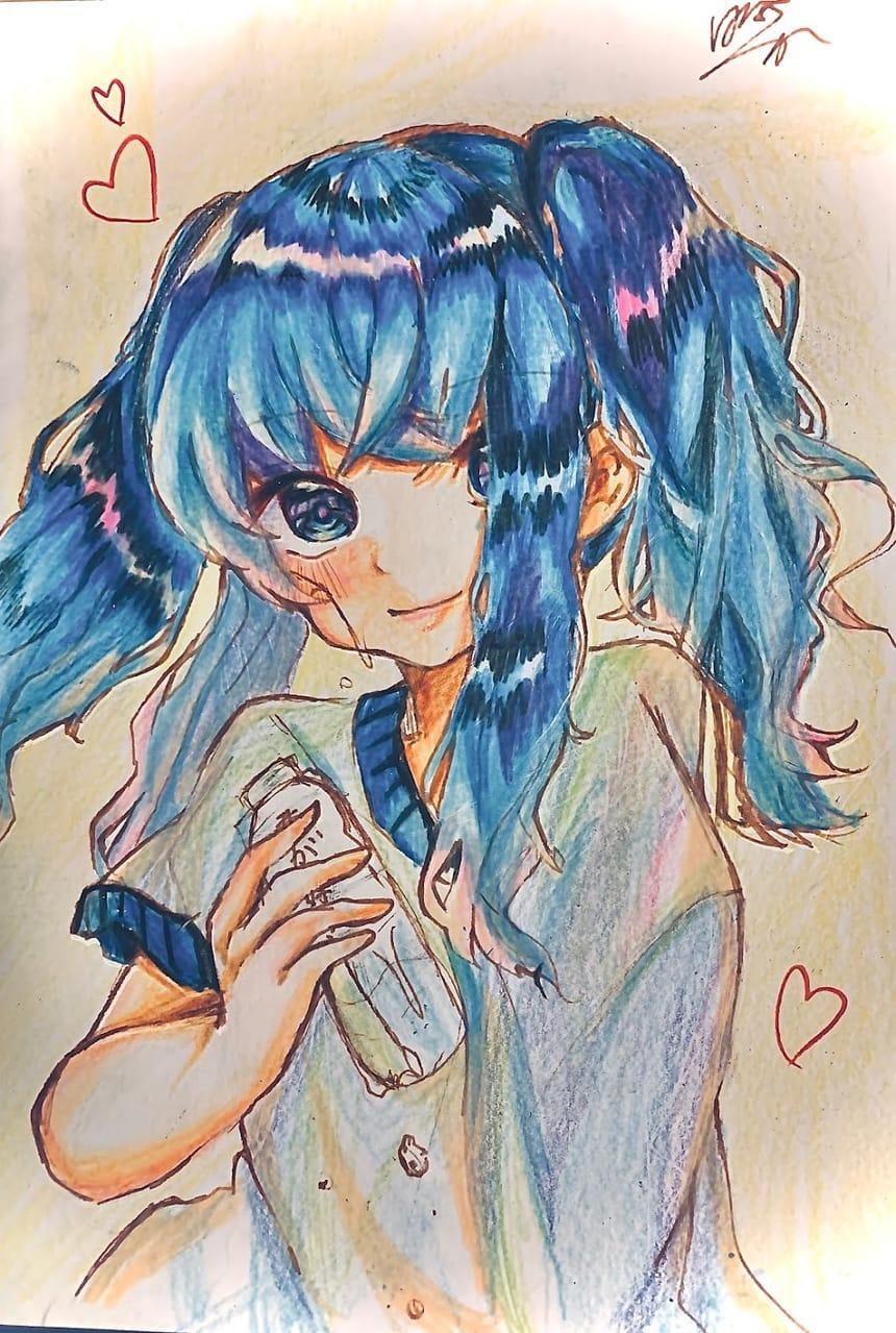 色鉛筆 Illust of フラミパン 青目 twin_ponytails AnalogDrawing 過去絵 oc アナログ 中学生の本気 青髪
