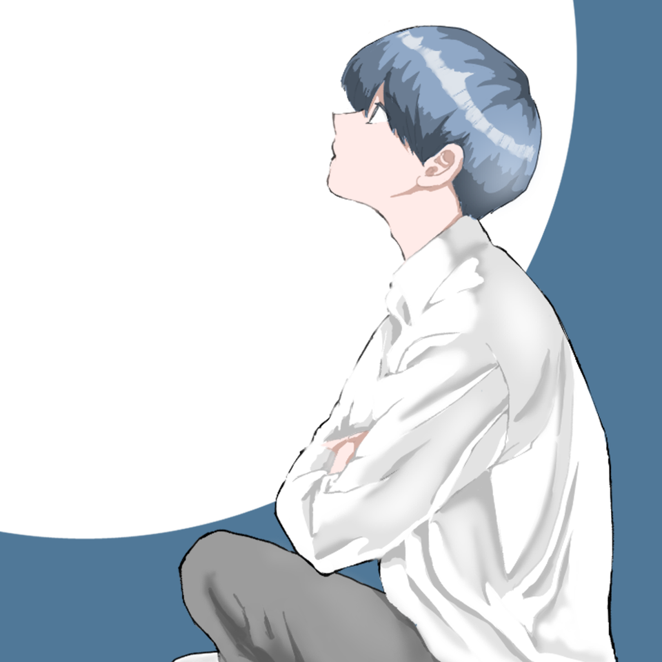 見上げる Illust of 大森喜悦 boy 青髪