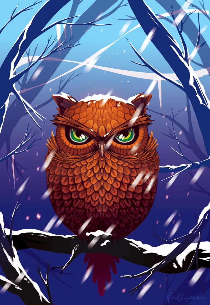Winter Owl Illust of RachelGeorge dec.2019Contest winter animal owl snow