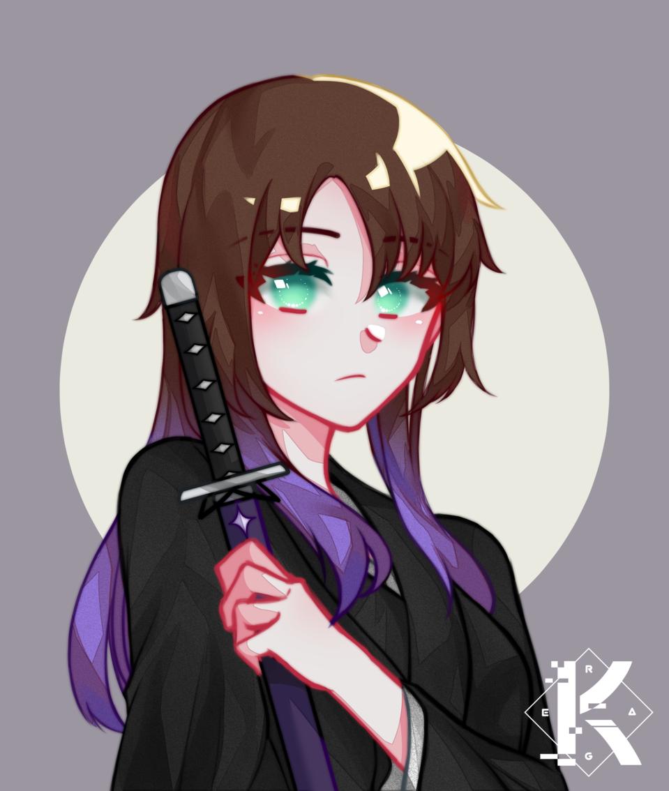 Art Trade on DA - 1 Illust of Kagera medibangpaint cute katana girl simple kawaii arttrade anime animegirl purple love