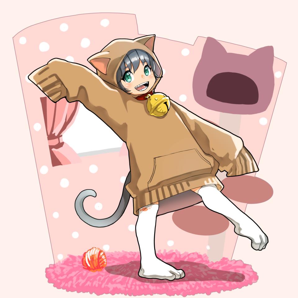 にゃん Illust of まっくろくろな kawaii girl 猫耳フード tail