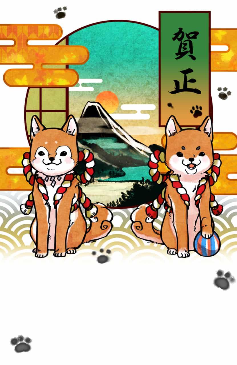戌年 Illust of たけなか 2018年戌年年賀状コンテスト dog Japanese_style 年賀状
