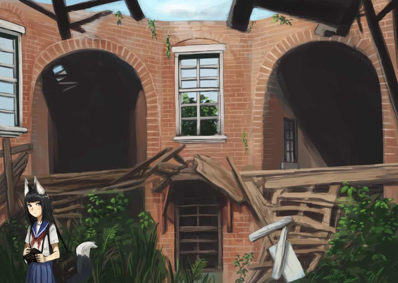廃墟カメラマン Illust of apacchi64 original 獣人 fox background ruins 狐娘
