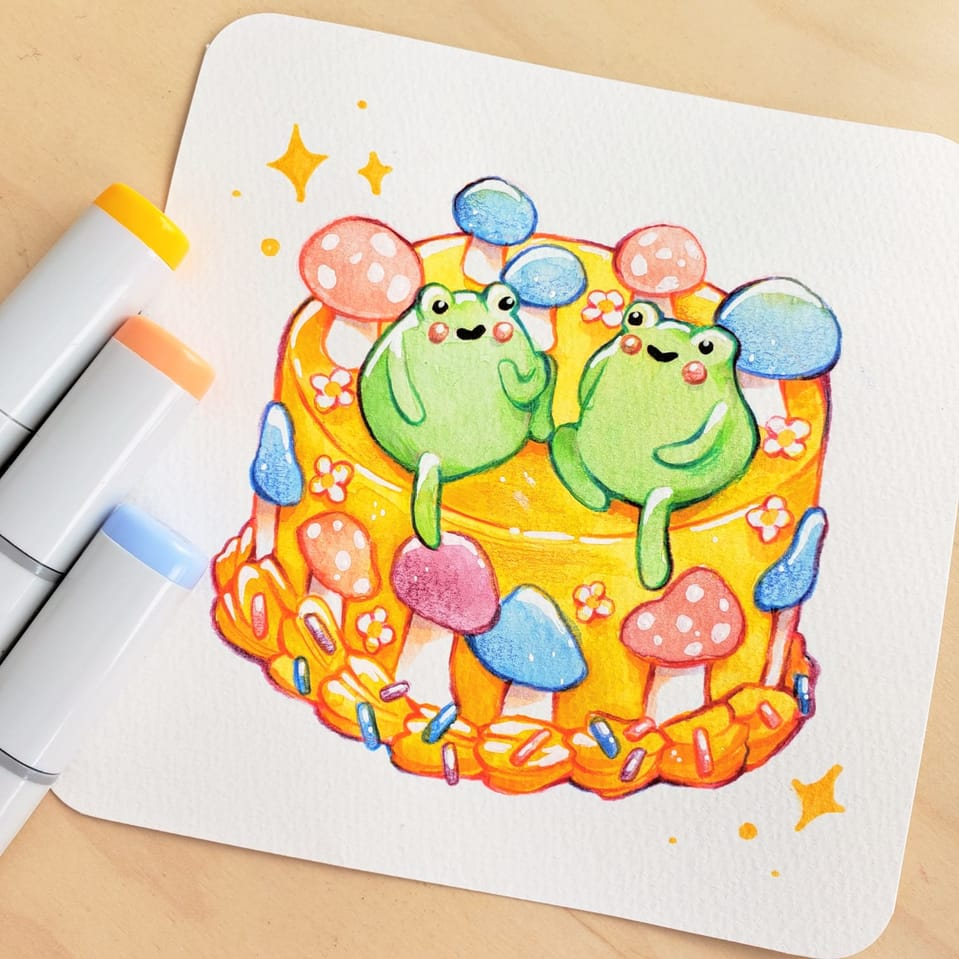 froggy cake Illust of nata watercolor painting food illustration Copic traditional