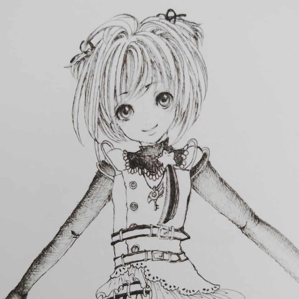 カードキャプターさくら Illust of Mine original girl monochrome さくら CardcaptorSakura doodle blackandwhite kawaii