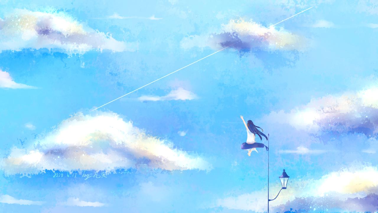 天空和女孩1 Illust of 九夜未央 medibangpaint clouds sky