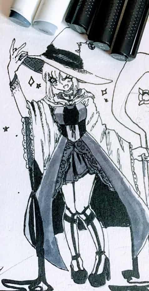 my short witch  Illust of Fari markers witch ohuhu sketch artezaliners
