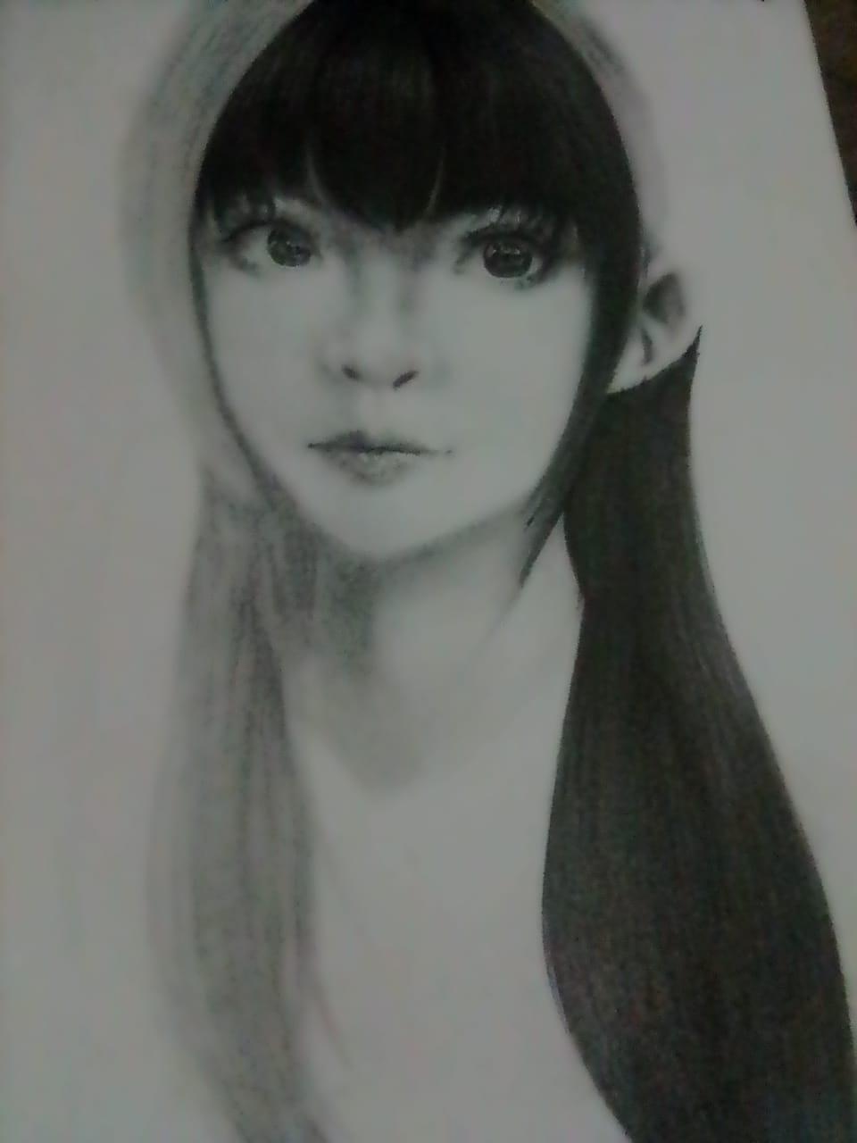 Woman face, I guess... Illust of Izayoi Mikasa original girl Mii-chan(Mikasa) kawaii cute art blackandwhite black
