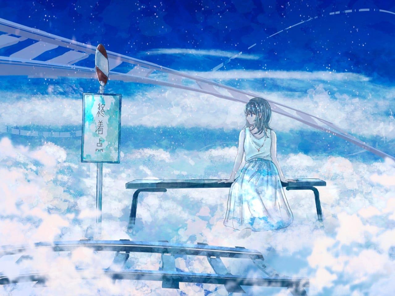 どこにもいけないのにね Illust of 熊谷のの scenery blue 幻想風景 background